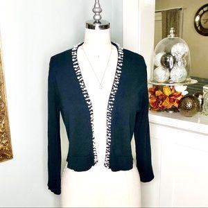 Calvin Klein Black Crop Sweater Cardigan w  Pearls